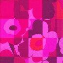 marimekko マリメッコ 可愛い ペーパーナプキン デコパージュ☆MINI RUUTU UNIKKO red☆(1枚/バラ売り)