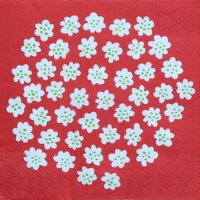 marimekko マリメッコ 可愛い ペーパーナプキン デコパージュ☆PUKETTI white red☆(1枚/バラ売り)