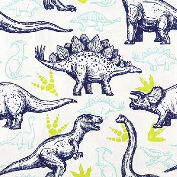 ドイツ HOME FASHION 可愛い ペーパーナプキン デコパージュ お子様・子供におすすめ☆恐竜 トリケラトプス ティラノサウルス ブラキオサウルス ステゴサウルス☆(Dinosaurs)(1枚/バラ売り)