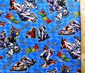 <キャラクター生地・布>爆走兄弟レッツ&ゴー!!(ブルー)【キャラクター】【生地】【布】【キャラクター生地】【入園】【入学】