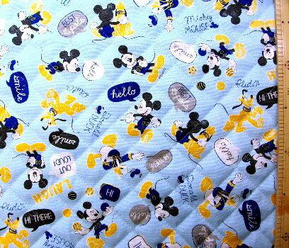 ミッキーマウス(ブルー)#60(材料セット レシピ付き・キルティング)レッスンバック(またはピアニカケース)とシューズケース用手作りキット(キャラクター 生地 材料キット )【ゆうパケット(メール便)OK】