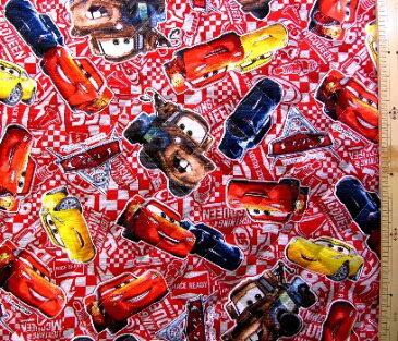 Cars(カーズ)(赤)#26(材料セット レシピ付き・キルティング)レッスンバック(またはピアニカケース)とシューズケース用手作りキット(キャラクター 材料キット パーツ )【×クロネコDM便不可】