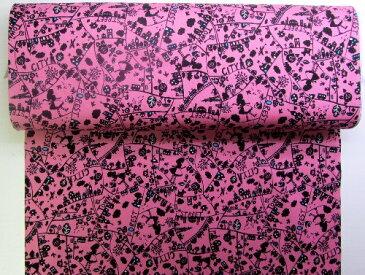 プリント生地・アリスのお散歩(ピンク)( アリス ありす いっぱい シルエットかわいい おしゃれ 男の子 女の子 子供 入園 入学 )
