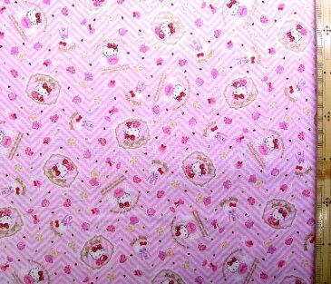 巾着袋(材料セット)・レシピ付き キティ(ピンク)(一部ラメ入り)#220【体操服入れ・給食袋・お弁当袋・コップ袋が各1個(合計4個)作れます】( キャラクター 生地 材料キット )【ゆうパケット(メール便)OK】