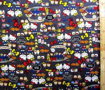 巾着袋(材料セット)・レシピ付き キティ(グレー)#224【体操服入れ・給食袋・お弁当袋・コップ袋が各1個(合計4個)作れます】( キャラクター 生地 材料キット )【ゆうパケット(メール便)OK】