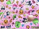 Q- キルト - キャラクター キルティング 生地 お手軽セット はぎれ 40cm たまごっち ( ピンク ) 柄番号10