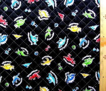 Q-プリント キルティング ( キルト ) 生地 ・ミニザウルス(黒)( 恐竜 ステゴサウルス トリケラトプス ジュラかわいい おしゃれ 男の子 女の子 子供 入園 入学 )