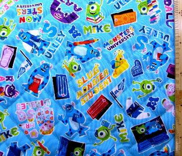 <Qキャラクター・キルティング生地>モンスターズインク(ブルー)#10・ディズニー ( 2018 -2019 )【キルティング】【キルト】【キャラクター】【キルティング生地】【布】【入園】【入学】 クラフトシリーズ