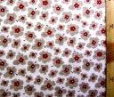 ダブルガーゼ生地 布 花柄A ( ライトブラウン ) ( 綿100% 吸湿冷感加工 ) 生地幅−約108cm ( 商品の特性上、柄が多少歪んでいる場合がありますのでご了承ください。 )( 花 花柄 マスク ハンカチ スタイ )