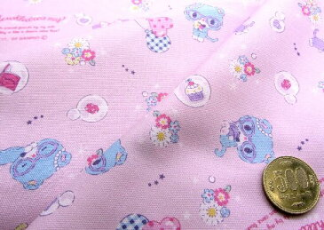 キャラクター 生地 布 ミュークルドリーミー ( ピンク ) 柄番号4 ( 2020 - 2021 ) オックス ( 綿100% ) 生地幅−約108cm( サンリオ )