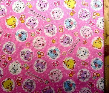 キャラクター 生地 布 ミュークルドリーミー ( ピンク ) 柄番号5 ( 2020 - 2021 ) オックス ( 綿100% ) 生地幅−約108cm( サンリオ )