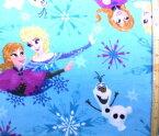 キャラクター フリース生地<USAコットン 直輸入正規ライセンス品>アナと雪の女王 ( うすブルー ) 柄番号2 ( アナ雪 布 あったか素材 毛布 膝かけ ) 【×メール便 ( ゆうパケット ) 不可】