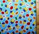 キャラクター 生地 布 ミニオンズ フィーバー ( ブルー ) 柄番号18 ( 2021 ) オックス ( 綿100% )生地幅−約108cm ( 怪盗グルー ミニオン )