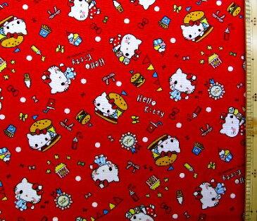 巾着袋(材料セット)・レシピ付き キティ(赤)#206【体操服入れ・給食袋・お弁当袋・コップ袋が各1個(合計4個)作れます】( キャラクター 生地 材料キット )【ゆうパケット(メール便)OK】