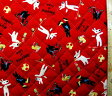 <Qキャラクター・キルティング生地>リサとガスパール(赤)#18【キルティング】【キルト】【キャラクター】【キルティング生地】【布】【入園】【入学】
