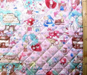 <Qキャラクター・キルティング生地>サンリオ・キャラクターズ(ピンク)#4【キルティング】【キルト】【キャラクター】【キルティング生地】【布】【入園】【入学】