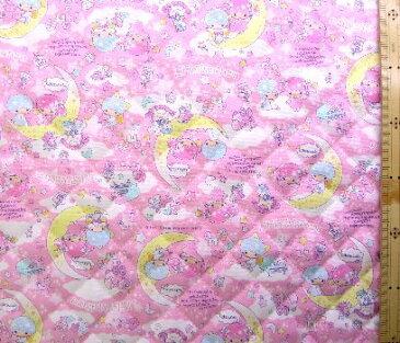 <Qキャラクター・キルティング生地>キキララ(ピンク)#45【キルティング】【キルト】【キャラクター】【キルティング生地】【布】【入園】【入学】