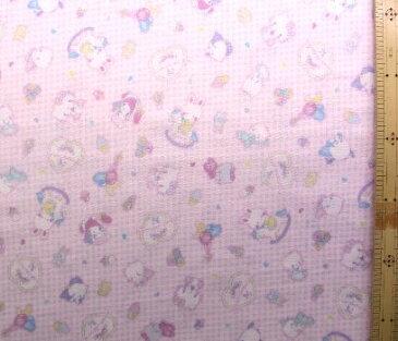 キャラクター ダブルガーゼ 生地・サンリオ・キャラクターズ(ピンクチェック)#10(商品の特性上、柄が多少歪んでいる場合がありますのでご了承ください。)( ダブルガーゼ生地 Wガーゼ マスク ハンカチ スタイ 赤ちゃん ベビー キッズ )