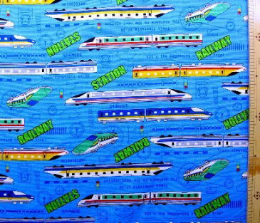 プリント生地・スーパー・エクスプレス(ブルー)#2( 乗り物 電車 新幹線 JRかわいい おしゃれ 男の子 女の子 子供 入園 入学 )