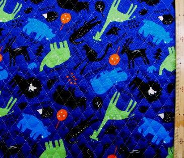 Q-プリント キルティング ( キルト ) 生地 ・アニマル図鑑(紺)( 動物 あにまる ゾウ ライオン クマ かわいい おしゃれ 男の子 女の子 子供 入園 入学 )