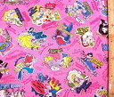 巾着袋(材料セット)・ディズニープリンセス(ラメグリッター付き・濃いピンク)#53【体操服入れ・給食袋・お弁当袋・コップ袋が各1個(合計4個)作れます】【クロネコDM便OK】