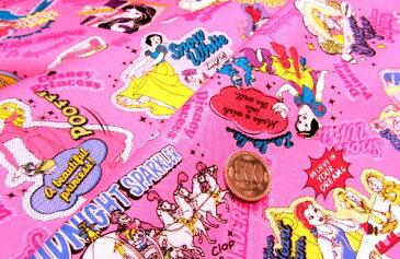 キャラクター 生地 お手軽 セット ディズニープリンセス(ラメグリッター付き・濃いピンク)#53【ディズニー】 (生地40cm+縫い糸1個+ひも2m) 布 手芸