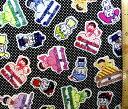 キャラクター 生地 布 おそ松さん×Sanrio Characters(黒/ドット)( 2018 )【生地】【布】【キャラクター生地】【入園】【入学】