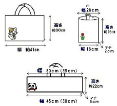 キャラクター生地で通園バッグ(レッスンバッグまたはピアニカ入れとシューズケース)が各1個(合計2個)の製作(縫製)を依頼(キルティングのオーダーメイド用材料キット)