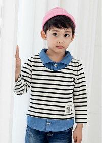 韓国子供服GreenTomato(グリーントマト)デニムシャツ風ボーダー長袖Tシャツ