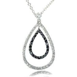 Danglingオープンティアドロップブラック&ホワイトCZダイヤモンドマイクロパヴェシルバーネックレス【送料無料・代引手数料無料】