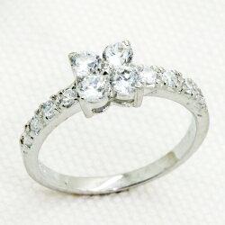 0.25ct.czダイヤモンドフラワーブリリアントカットファッションパヴェリング【送料無料・代引手数料無料】