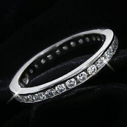 0.75カラット(3mm)フルエタニティCZダイヤモンドシルバーリング【送料無料・代引手数料無料】