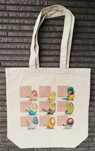 鳥さんのトートバッグオレンジ01