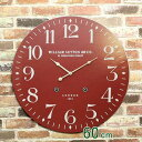 英国風で超オシャレな巨大時計! 『イギリス風 60cm』 壁掛け時計 掛け時計 おしゃれ 大きい文字 見やすい アンティーク風 掛時計 壁掛時計 大型 大型時計 レトロ アイボリー(ホワイト系) ボルドー レッド 赤 黒 ブラック 店舗 会社 カフェ 男前インテリアの写真