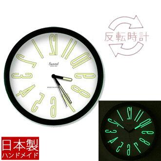 """""""日本製造的 ACE 時鐘 (倒時鐘) 光 ' 時鐘掛鐘牆鐘牆牆時鐘顛倒字元時尚獨特時鐘黑牆時鐘古典發光反向讀的顛倒,掛鐘開業商業饋贈的禮品時鐘一步第二隻手牆上掛鐘的慶祝"""