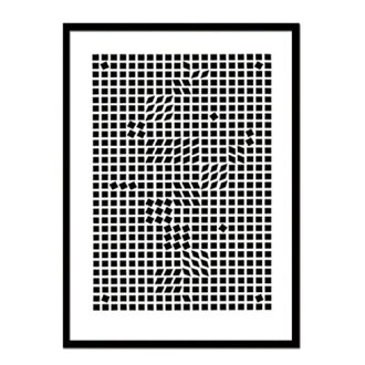 藝術架子框架墻裝飾畫框墻壁裝飾室內裝飾墻壁裝飾藝術顯示器架子室內裝飾架子繪畫版畫絲網印刷Victor Vasarely Tinko,1955漂亮的北歐長方形立式