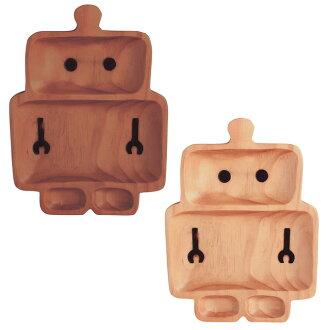 Optima 人板菜 kisara 兒童午餐板兒童餐具為孩子廚房木託盤木託盤木材的天然材料機器人時尚北歐可愛手工製作手工分區的收件匣機器人板孩子板兒童板木盤子午餐