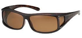 偏光サングラス メガネの上から オーバーグラス S-Mサイズ SC-10ブラウン偏光 ダークブラウンデミ