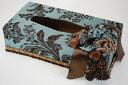 ティッシュケース 布製 花柄 ディープブルー/ブラウンアメリカブランド ジェニファーテイラー