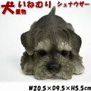犬の置物 いねむり・シュナウザー( ガーデニング オブジェ 動物 アニ...