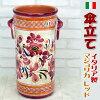【送料無料】イタリア製陶器傘立てマジョリカ(ピンク花柄アンブレラスタンドおしゃれ傘たて輸入雑貨レインラック壺花瓶フラワーベースヨーロッパクラシックアンティークハンドメイド)【10P24Oct15】
