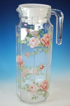 冷水筒 ガラス イングリッシュローズ 麦茶ポット 冷茶ポット 1L水差し ピッチャー日本製