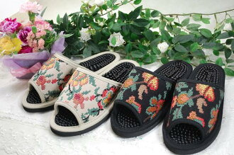 Health Tyrolean embroidered slippers beige and black health sandals