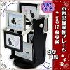 日本製木製黒猫回転フォトフレームサービス判L判12枚(ブラックホワイトねこ猫雑貨猫グッズギフト写真立てフォトスタンド卓上ギフト包装無料12窓)