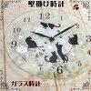 壁掛け時計ガラス黒猫(丸型掛け時計クロックおしゃれ壁掛時計猫雑貨猫グッズ猫柄ネコねこ)