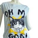 激安キッチュカットソーシリーズオーマイガーにゃんこ驚き猫例の画像のねこCAT好きさんにおすすめおしゃれキャットタンクトップ風デザインTシャツ