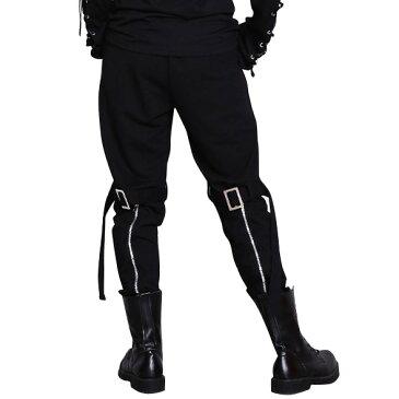サルエルパンツ 男女兼用 ボンデージ風後ろジップジョッパーズパンツ ユニセックスボトム ブラックカラー エグザイル スパンデックス ダンス ※希望者様にサスペンダーおまけ!