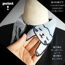 ブラウス猫祭りオーガンジー襟ねこ刺繍の白黒ネコシャツフレンチスリーブお茶目にゃんこドルマン半袖