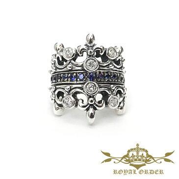 【ROYAL ORDER】ロイヤルオーダー【送料無料】【あす楽】/DOUBLE TIARA w/Dia & Sapphires MID BAND ダブルティアラリングw/サファイア&ダイヤモンド/シルバーリング