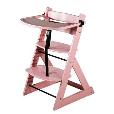 送料無料 新品 ベビーチェア テーブル付き トレイ付き キッズチェア グローアップチェア 木製 子供用椅子 ピンク
